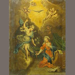 Continental School The Annunciation 19 3/4 x 15 1/2in