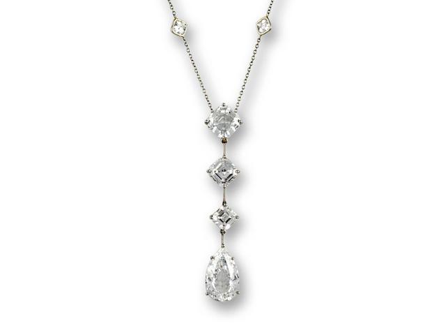 A fine diamond pendant necklace