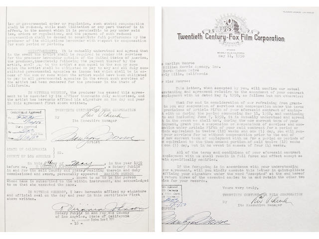 A Marilyn Monroe twice-signed early employment contract, 1950