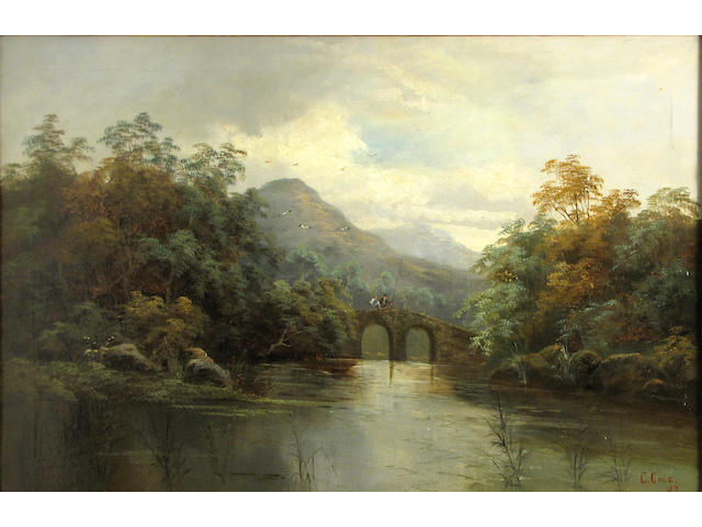 English School A river scene with figures on a bridge; A river scene with two figures in a punt (a pair) 16 x 24 1/4in