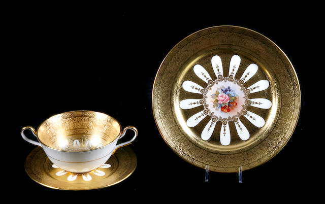 An Aynsley porcelain rose and gilt decorated dinner service for twelve