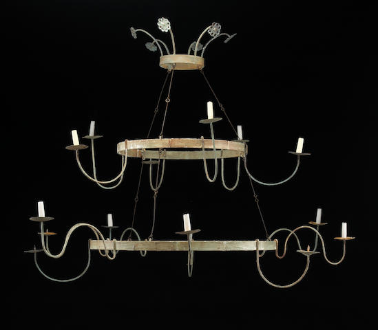 An Italian Neoclassical style twelve light painted iron chandelier
