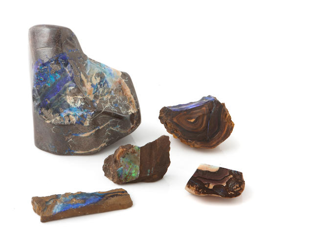 A large group of boulder opal specimens