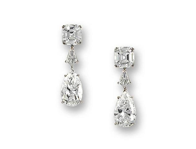 A pair of fine diamond pendant earrings