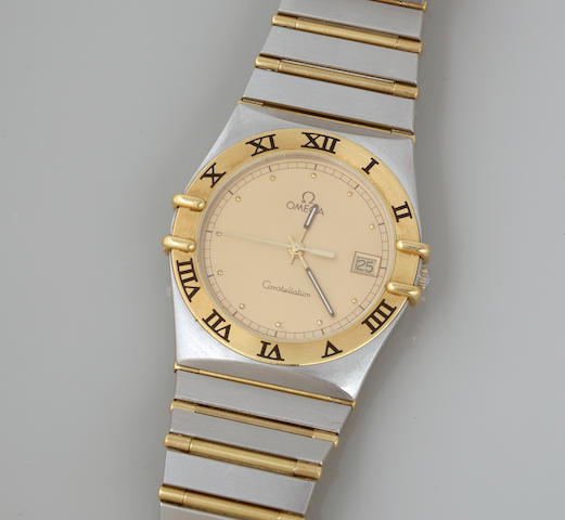 A stainless steel and 18k gold, calendar bracelet wristwatch, Omega Constellation