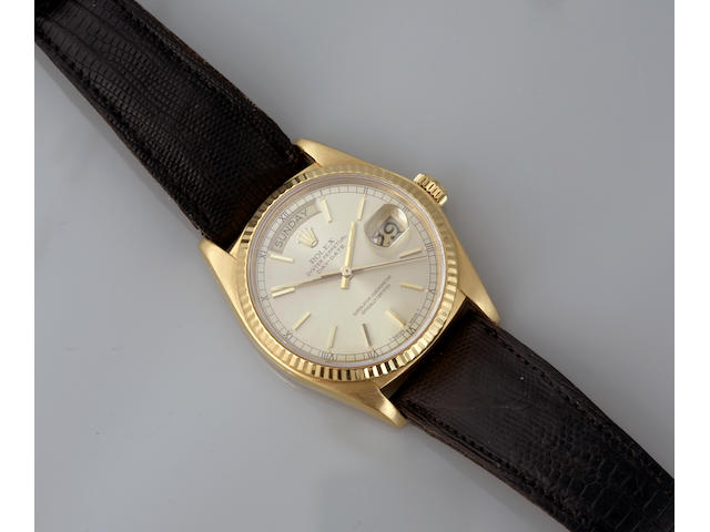 Rolex. An 18k gold Day-Date wristwatch