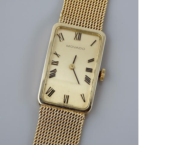A 14k gold bracelet watch