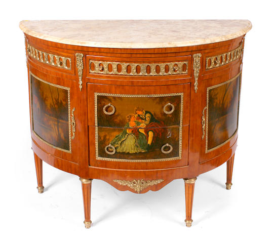 A Louis XVI Vernis Martin style paint decorated demilune marble topped commode