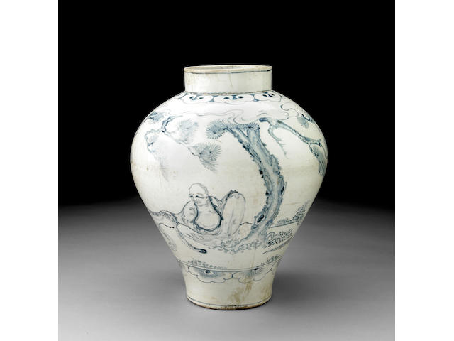 A fine and rare blue and white porcelain jar with figural decoration Joseon Dynasty, Circa 1800  PLEASE SEE SPECIAL NOTICE FOR LOT 8060 BIDDERS