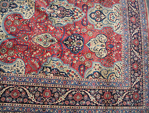 A Yazd carpet size approximately 13ft. x 19ft.