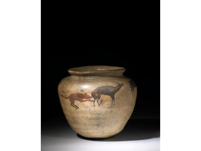 A Zuni polychrome drum jar