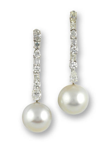 A pair of South Sea cultured pearl and diamond pendant earrings