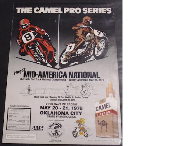A Camel Pro Series motorcycle racing poster, American, 1978, 27½ by 20in.