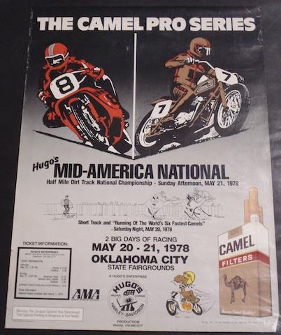 A Camel Pro Series motorcycle racing poster, American 1978, 27½ x 20in