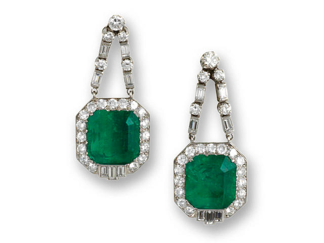 A pair of Colombian emerald and diamond pendant earrings
