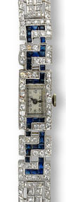 An art deco diamond and sapphire bracelet wristwatch,
