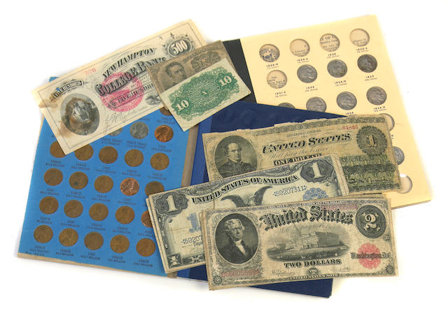 A miscellaneous group of coins and banknotes 19th and 20th Century  including partially filled books of the following: Indian Head Cents; Lincoln Cents; Jefferson Head Nickels; Mercury Dimes, Roosevelt Dimes; All Purpose Coin Album, which includes Lincoln Cents, 3 Cent Nickels, 2 Cents, Seated and Barber Dimes; Shield Nickels; Buffalo Nickels; very Partial Type Set; also includes currency: miscellaneous Fractional Currency; world banknotes; Florida and Southern Railway Gold Bonds (2), dated 1923; small size Federal Reserve Note $1 and $2's; Large Size Notes, including $1 Legal Tender Notes, series 1862 (2); $1 Silver Certificates, Series 1899 (3); $2 Legal Tender Notes, Series 1917 (2); New Hampton College Bank $500; $1 Silver Certificates, series 1923 (3); generally good to very fine, two of the $1 Silver Certificates of 1923 appear to be CU; together with miscellaneous World and U.S. coins, loose.
