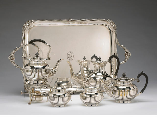 George V Silver Five Piece Tea and Coffee Set with Matching Tray in the Regency Taste by Mappin & Webb