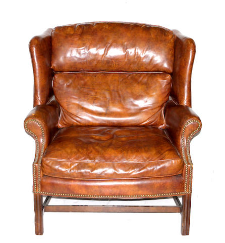 A George III style wingback gentleman's library chair