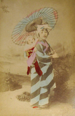 Anonymous (25) Japanese handcolored photographs circa 1890s in lacquer case