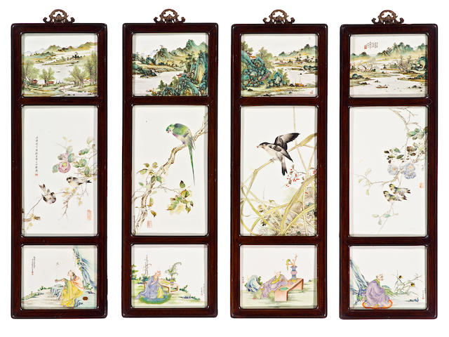 A set of four wall panels with inset enameled porcelain plaques Republic Period, Dated cyclically to 1924