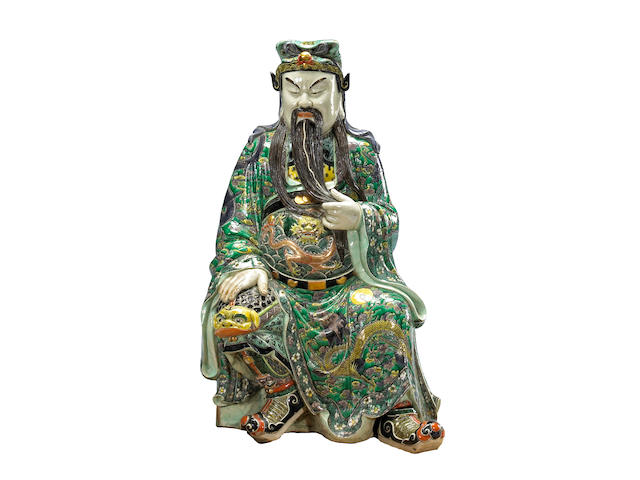 A famille verte enameled figure of Guanyu Late Qing/Republic Period