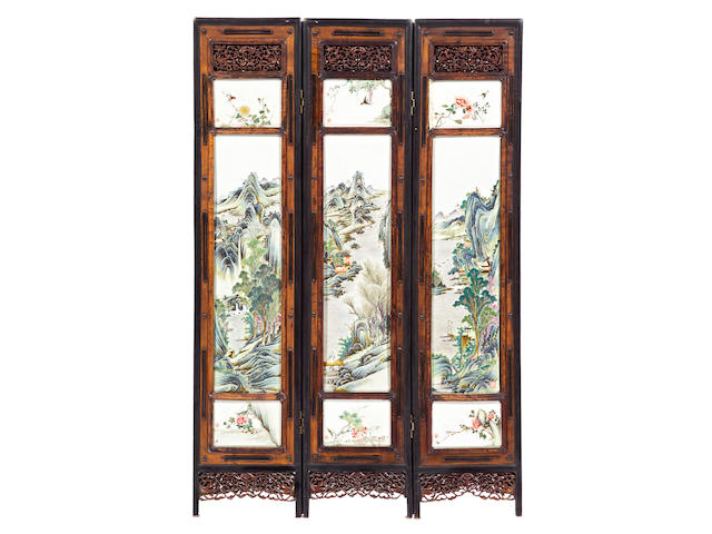 A mid-size six-panel wood floor screen inset with porcelain plaques Yanqing Lou Marks, Republic Period