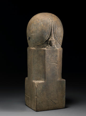 A carved sandstone mukhalingha Pre-Angkor Period, 7th/8th Century