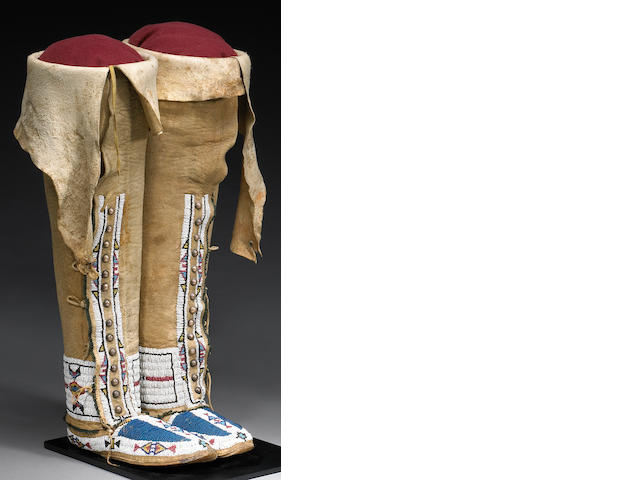 A pair of Southern Cheyenne beaded hightop moccasins