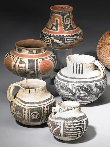 Five Anasazi vessels