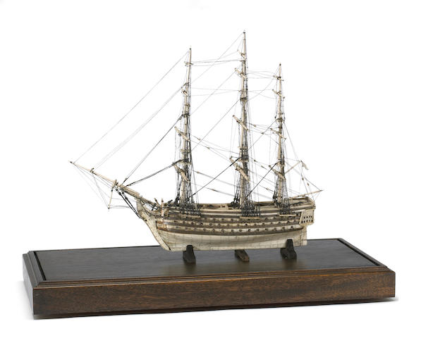 A finely carved Napoleonic prisoner-of-war bone model eighty-eight gun ship of the line  first quarter 19th century
