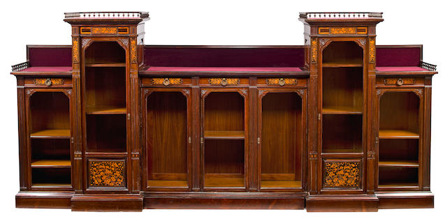 A Fine American Aesthetic inlaid and carved rosewood bookcase<br>Commissioned for the Edward Dayton residence, executed by Herter Brothers, New York, circa 1880