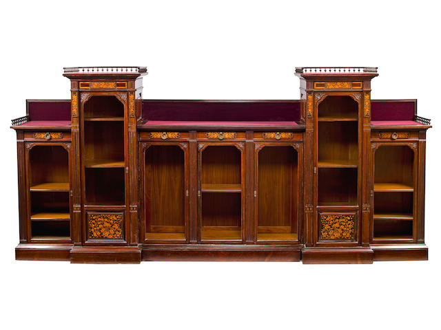 A fine American Aesthetic inlaid and carved rosewood bookcase possibly commissioned for the Edward Dayton residence, executed by Herter Brothers, New York circa 1880