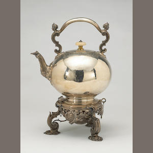 Victorian Silver Kettle on Lamp Stand in the de Lamerie Taste by Robert Garrard