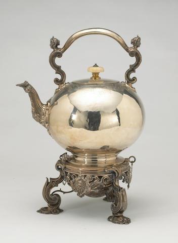 Victorian Silver Kettle on Lamp Stand in the de Lamerie Taste by Robert Garrard