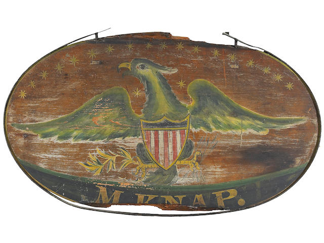 An American painted pine trade sign inscribed M. Knap  early 19th century
