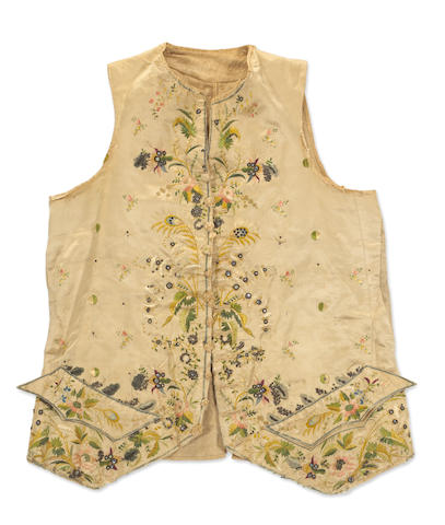 A Continental embroidered silk gentleman's waistcoat 18th century