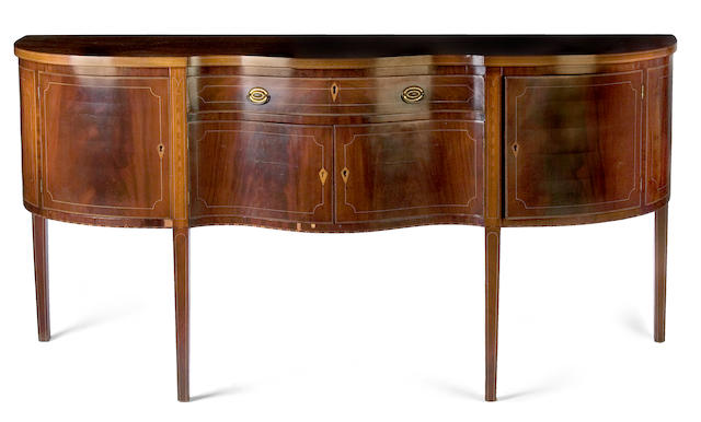 A Federal inlaid mahogany sideboard  Baltimore or Philadelphia circa 1800