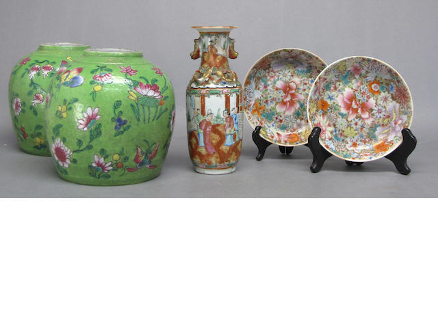 A group of five Chinese famille rose enameled porcelain containers Late Qing/Republic Period