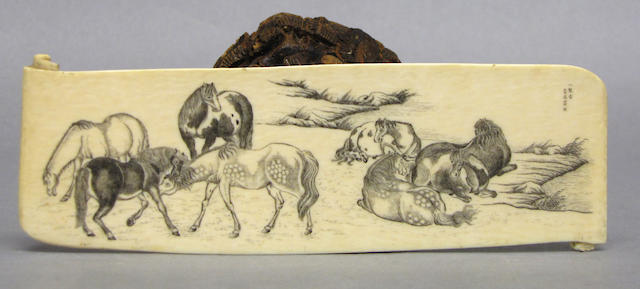 A Chinese ivory panel with scrimshaw decoration of horses
