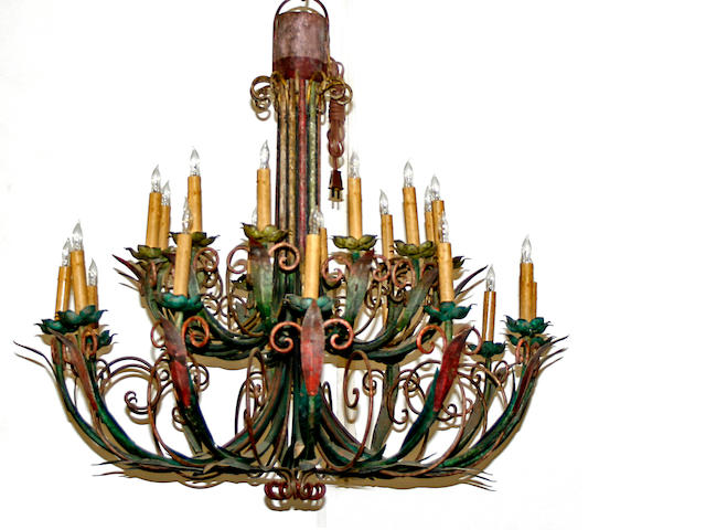 An Italian Neoclassical style polychrome decorated iron twenty-four light chandelier