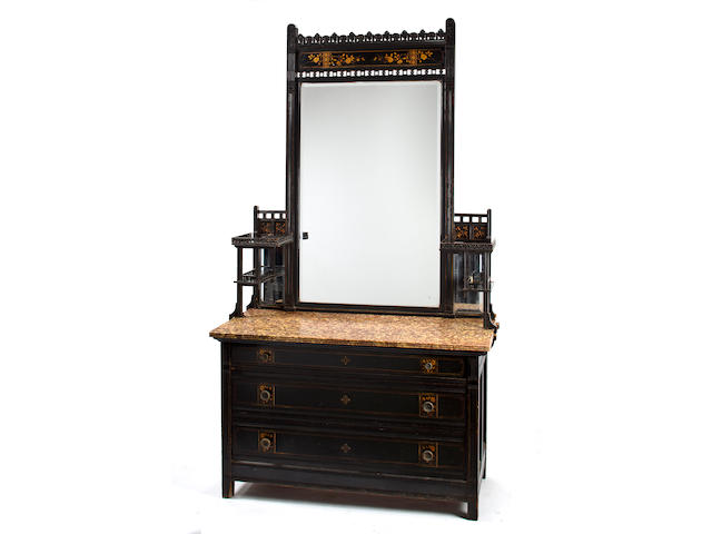An American Aesthetic inlaid and ebonized cherrywood bedroom suite Herter Brothers, New York  circa 1880