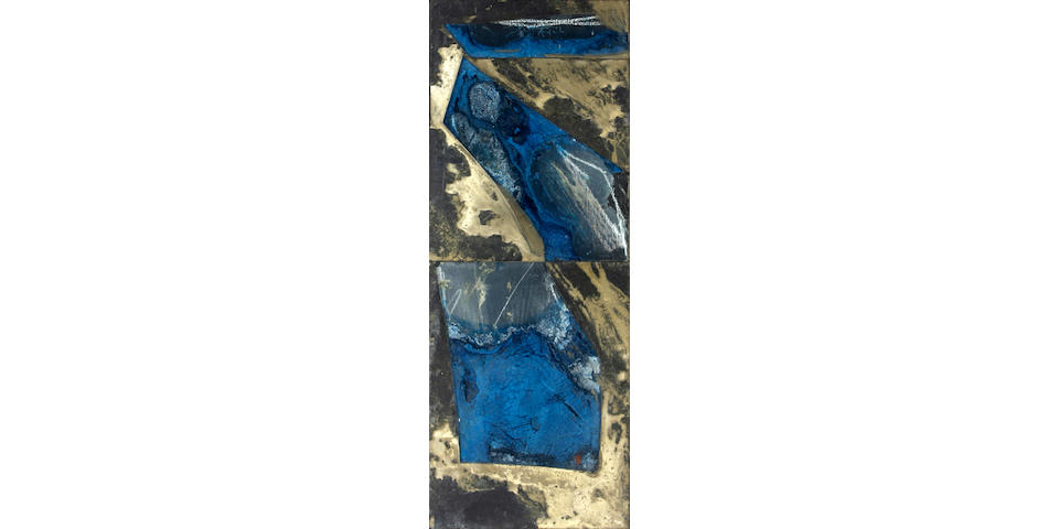 Laddie John Dill (American, born 1943) Untitled (Blue diptych) 32 x 12in