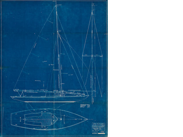 A blueprint of a 15' waterline knockabout including the sail and deck plan