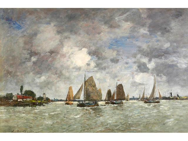 Eugène Louis Boudin (French, 1824-1898) Bateaux sur la Meuse 19 1/2 x 29 1/4in (49.5 x 74.3cm)
