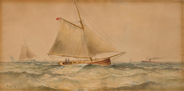 Watercolor on paper, gaff-rigged cutter