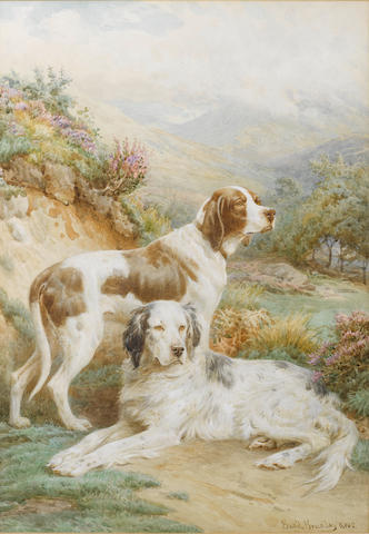 Basil Bradley, RWS (British, 1842-1904) An English Setter and a Pointer in a landscape 21 x 14 3/4 i