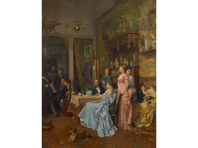 (n/a) Adrien Moreau (French, 1843-1906) Concert d'amateurs dans un atelier d'artiste 46 1/2 x 36in (118.1 x 91.4cm)