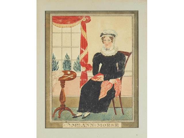 American School watercolor on paper Portraits of Benjamin Morse and Ann Morse 1830