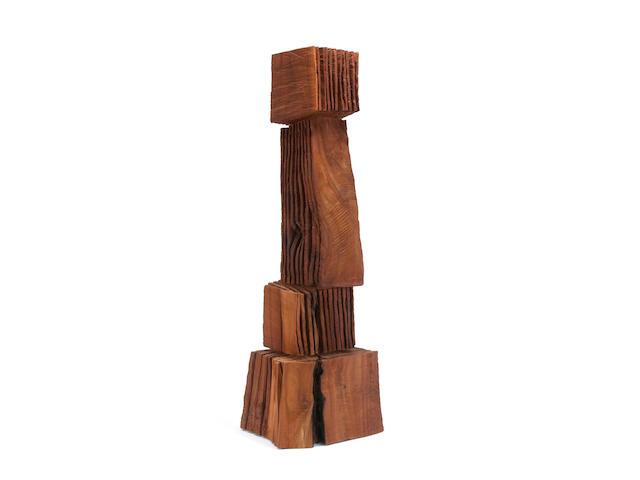 (n/a) David Nash (British, born 1945) Rip Cut Stack 40 1/2 x 9 1/2 x 12in